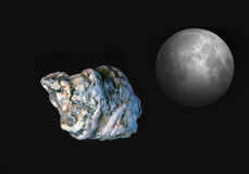 Meteorite and moon. Meteorite with the moon in the space royalty free stock photo