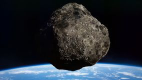 Asteroid approaching planet Earth, meteorite in orbit before impact vector illustration