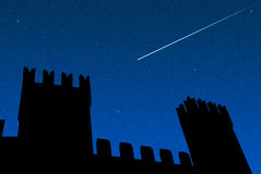 Meteorite over the castle Stock Photography