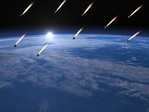 Meteorite shower - 3D render Stock Photo