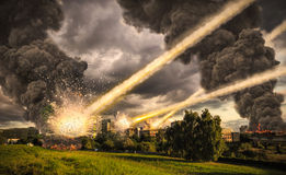 Meteorite shower over a city. Meteorite shower destroying the city and buildings Stock Images