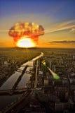 Meteorite shower over a city. representing the Apocalypse Stock Photos