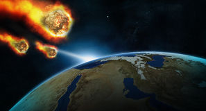 Meteorite shower on a planet Royalty Free Stock Photography