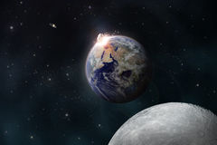 Meteoriten får effekt jorden stock illustrationer