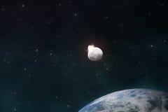 Meteoriten får effekt moonen royaltyfri illustrationer