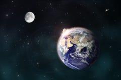 Meteoriten får effekt världen royaltyfri illustrationer
