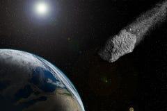 Meteoriten flyger till jordningen Stort och enormt ska kollidera med jorden Galax och stjärnor royaltyfri illustrationer