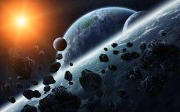 Meteoriteneinschlag auf Planeten im Raum Lizenzfreie Stockbilder