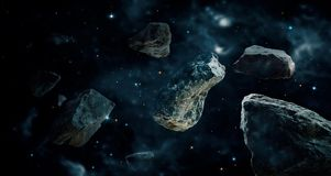 Meteorites in deep space planets. Asteroids in distant. vector illustration