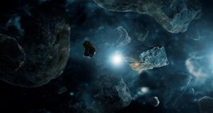 Meteorites in deep space planets. Asteroids in distant solar system. Science fiction concept royalty free stock image