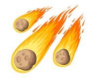 Meteorito de la llama Caída de la lluvia del meteorito en el planeta en estilo de la historieta Icono del color del cataclismo Ej stock de ilustración