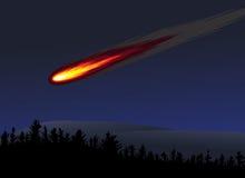 Meteorito o bola de fuego ilustración del vector