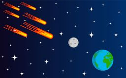 Meteorito o lluvia asteroide que viene al estilo plano de la tierra stock de ilustración