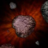 Meteoritos en el espacio, explosión, explosión grande Imagenes de archivo