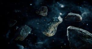 Meteoritos en planetas del espacio profundo Asteroides en distante ilustración del vector