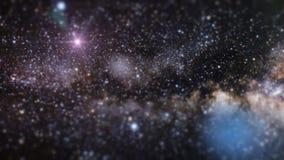Meteoritos que asoman en una galaxia colorida en espacio stock de ilustración