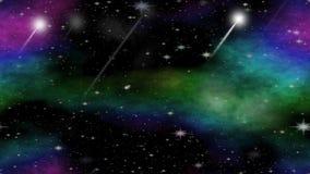 Meteoritos que vuelan a través del universo con el grupo multicolor de la nebulosa, animación video para la astronomía, ciencia f ilustración del vector