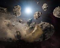 Meteoritstycken fr?n bilden f?r djupt utrymme f?r m?ne, sciencefantasiideal f?r tapet och tryck Best?ndsdelar av denna avbildar royaltyfri fotografi