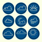 Meteorogical icon set. Clouds sun moon outlines. Royalty Free Stock Images