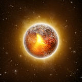Meteoroid. Burning Volcanic Planet - 3D illustration Royalty Free Stock Images