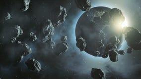 Meteorolite在有地球的航空航天来回摆动在背景中 库存例证