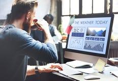 Meteorología Te del pronóstico del clima del informe de noticias de la condición atmosférica Imagen de archivo libre de regalías