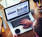 Meteorologia Te da previsão do clima do boletim noticioso da condição meteorológica Fotografia de Stock