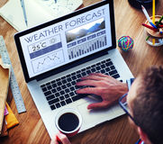Meteorologia Te di previsioni di clima del rapporto di notizie di condizioni atmosferiche Fotografia Stock