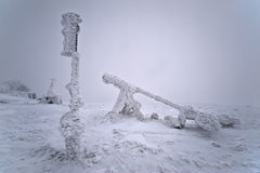 Meteorologic equipment after snowstorm. Urals, Russia Stock Photography