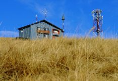 Meteorological data station. Meteo station and antenna up in the mountains Stock Images