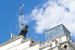 Meteorological devices on roof Stock Photography