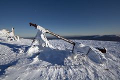 Meteorological equipment in snow.Weather station. Stock Image