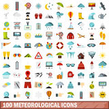 100 meteorological icons set, flat style Royalty Free Stock Photography