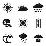 Meteorological icons set, simple style. Meteorological icons set. Simple set of 9 meteorological vector icons for web isolated on white background Royalty Free Stock Images