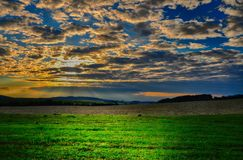 Meteorological photo - cumulus clouds over the meadow and agriculture fields at summer sunset. Stock Photography