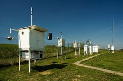 Meteorological station. Background meteo station in the middle of the Europe during nice weather day Stock Photo
