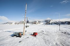 Meteorological station on the Arctic glacier Stock Photos