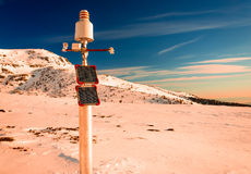 Meteorological station, powered with solar panels Royalty Free Stock Photography
