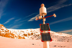 Meteorological station, powered with solar panels Stock Photo