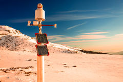 Meteorological station, powered with solar panels Stock Images