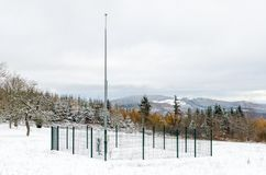 Meteorological station under snow. A meteorological station at the top of Beaujolais hills in winter, France Royalty Free Stock Image