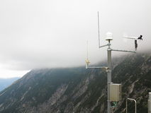 Alpine meteorological station in mountain scenery Royalty Free Stock Photos