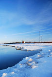 Meteorological station in winter. Meteorological station at the frozen sea landscape stock photo