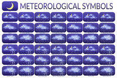 Meteorological Symbols, Set Royalty Free Stock Images