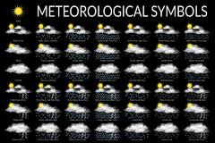 Meteorological Symbols, Set Stock Images