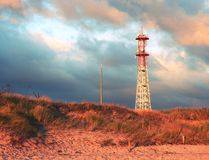 Meteorological tower station, steel construction at offshore. Stock Photo