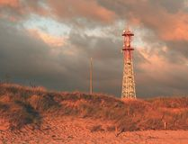 Meteorological tower station, steel construction at offshore. Royalty Free Stock Photos