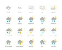 Meteorologie farbige Ikonen auf weißem Hintergrund lizenzfreie abbildung