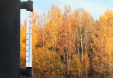 Meteorologie, het voorspellen en de herfst het concept van het weerseizoen - thermometer en geel bomenbos over glasvenster royalty-vrije stock foto's