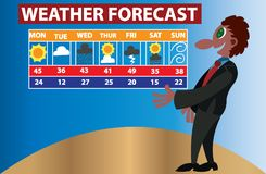 Weather Forecaster busy at work stock photos